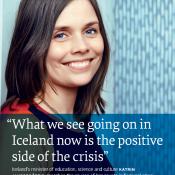 Katrin Jakobsdóttir, damals isländische Kultusministerin, im Interview mit think:act